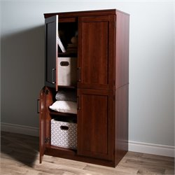 South Shore Morgan 4 Door Wood Shaker Armoire in Royal Cherry