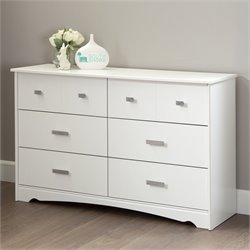 South Shore Sabrina 6 Drawer Wood Double Dresser in White