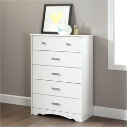 South Shore Sabrina 5 Drawer Wood Chest in White