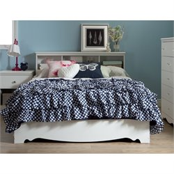 South Shore Crystal Wood Bookcase Headboard in White