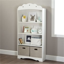 South Shore Sabrina 4 Shelf Wood Bookcase in White