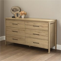 South Shore Gravity 6 Drawer Wood Double Dresser in Rustic Oak