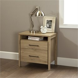 South Shore Gravity 2 Drawer Wood Nightstand in Rustic Oak