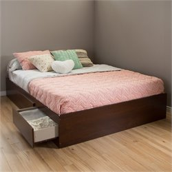 South Shore Vito Queen Storage Bed with Drawers in Sumptuous Cherry