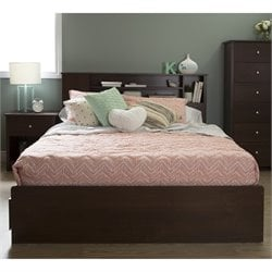 South Shore Vito Wood Queen Bookcase Drawer Bed in Sumptuous Cherry