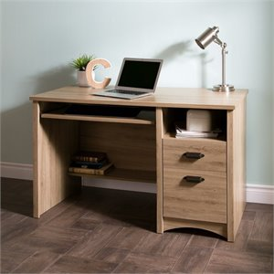 South Shore Gascony 2 Drawers Wood Computer Desk in Rustic Oak