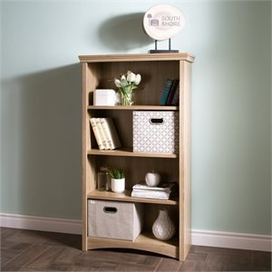 South Shore Gascony 4 Shelf Wood Bookcase in Rustic Oak