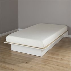South Shore Libra Wood Twin Platform Bed with 6'' Mattress in White
