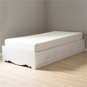 South Shore Crystal Twin Mates Bed with 8'' Mattress in White