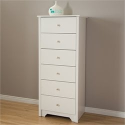 South Shore Vito 6 Drawer Wood Chest in White