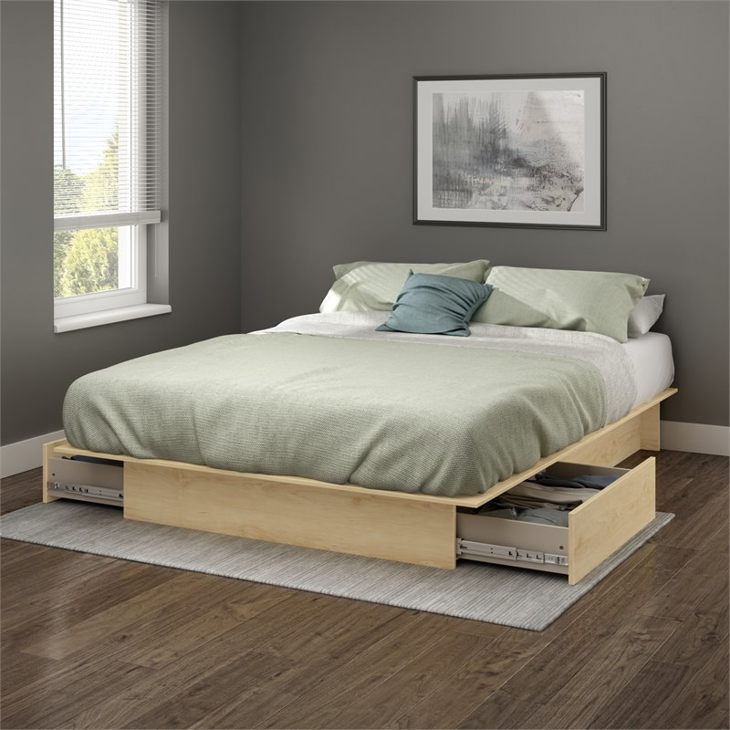 south shore copley full queen platform storage bed frame only in natural maple finish