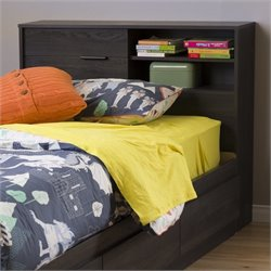 South Shore Fynn Twin Headboard with Storage in Gray Oak