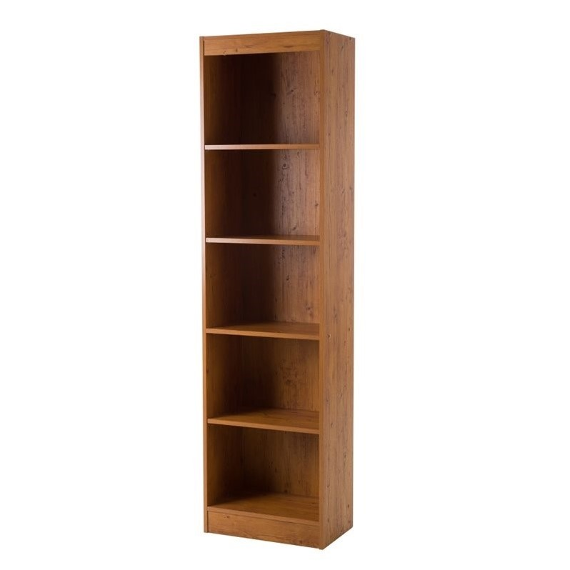 south shore axess 5 shelf narrow bookcase in country pine. Black Bedroom Furniture Sets. Home Design Ideas