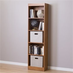 South Shore Axess 5 Shelf Narrow Bookcase in Country Pine