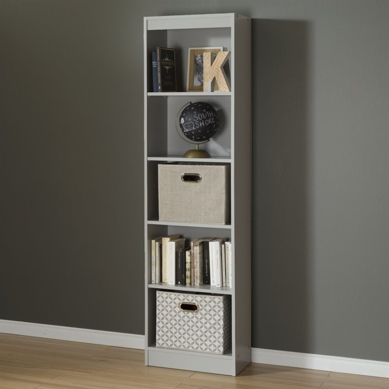 south shore axess 5 shelf narrow bookcase in soft gray 10134. Black Bedroom Furniture Sets. Home Design Ideas