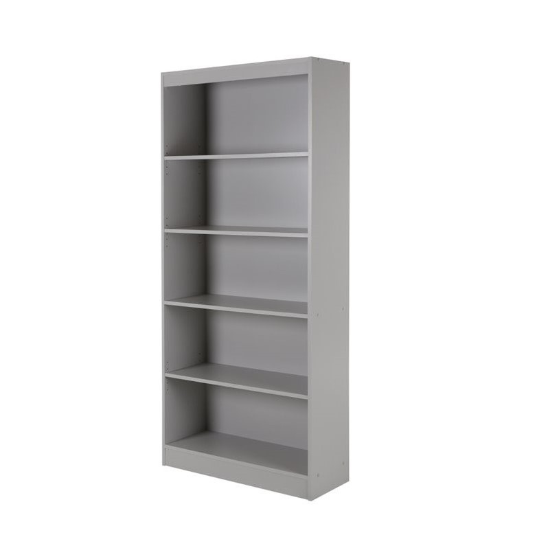 south shore axess 5 shelf bookcase in soft gray 10137. Black Bedroom Furniture Sets. Home Design Ideas