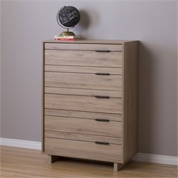 South Shore Fynn 5 Drawer Chest in Rustic Oak