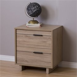 South Shore Fynn 2 Drawer Nightstand in Rustic Oak