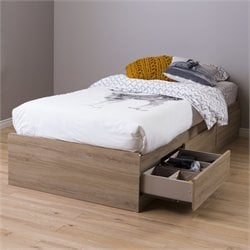 South Shore Fynn Twin Mates Bed with 3 Drawers in Rustic Oak