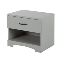 South Shore Step One 1 Drawer Nightstand in Soft Gray