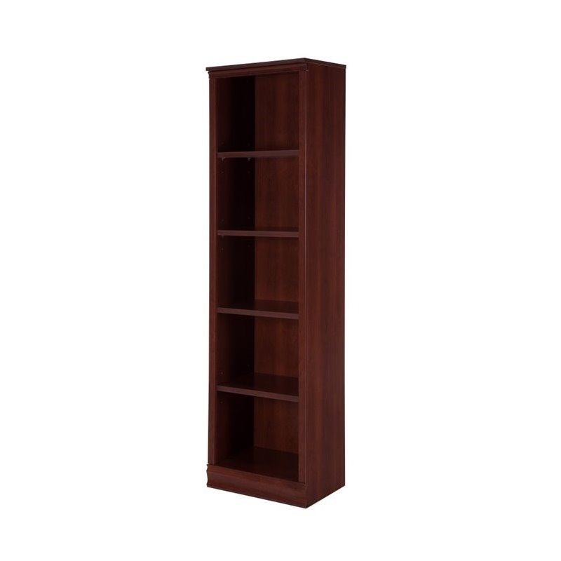 south shore morgan 5 shelf narrow bookcase in royal cherry. Black Bedroom Furniture Sets. Home Design Ideas