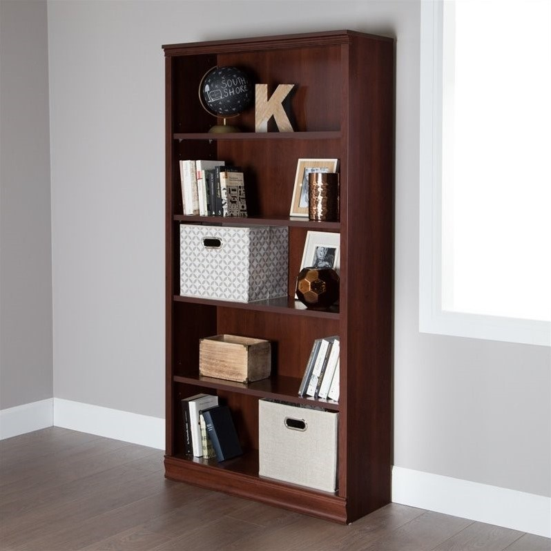 south shore morgan 5 shelf bookcase in royal cherry 10150. Black Bedroom Furniture Sets. Home Design Ideas