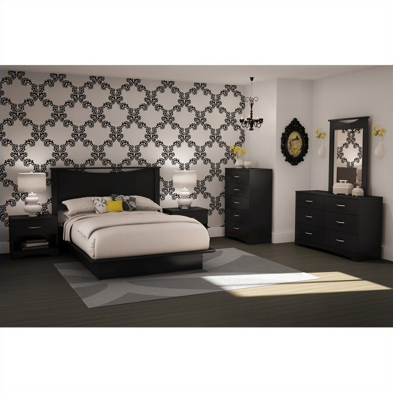 modern queen platform bedroom sets south shore cosmos black bed seduce with led lighting true twin