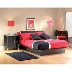 South Shore Cosmos Black Modern Platform Bed - Full