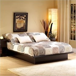 South Shore Back Bay Platform Bed Frame Only in Dark Chocolate Finish - Full