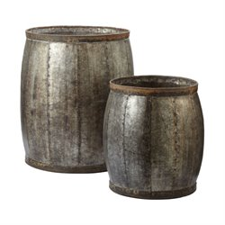 Dimond Home Fortress 2 Piece End Table Set in Distressed Silver