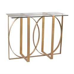 Dimond Home Box Rings Console Table in Gold Leaf