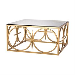 Dimond Home Amal Square Coffee Table in Antique Gold Leaf