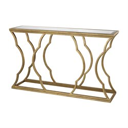 Dimond Home Metal Cloud Console Table in Antique Gold Leaf and Mirror
