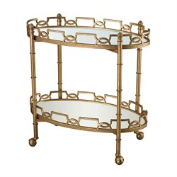 Dimond Home Curvilinear End Table in Antique Gold and Antique Mirror