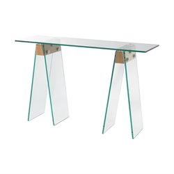 Dimond Home Frankfurt Console Table in Clear Glass and Wood Veneer