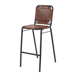 Dimond Home Industrial Bar Stool in Tobacco and Black Iron