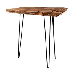 Dimond Home Teak Furniture End Table in Natural Teak and Iron