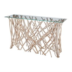 Dimond Home Teak Furniture Console Table in Teak Glass