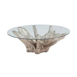 Dimond Home Teak Furniture Round Coffee Table in Champagne Gold