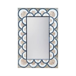 Dimond Home Decorative Mirror in Natural Capiz and Navy Blue
