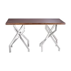 Dimond Home Stick Leggy Console Table in Wood and Stainless Steel