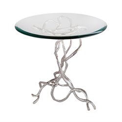 Dimond Home Woven Vines End Table in Silver Plate
