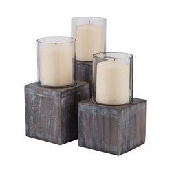 Dimond Home 3 Piece Candle Holder Set in White Washed Dark Gray