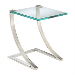 Sterling Uptown End Table in Polished Nickel and Clear Glass
