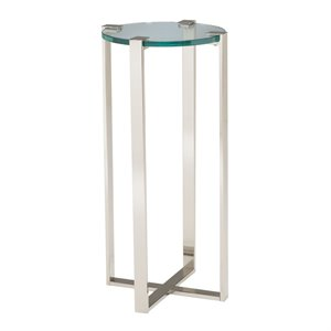Sterling Uptown Plant Stand in Polished Nickel and Clear Glass
