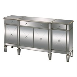 Sterling Bodrum Mirrored Buffet Table in Champagne Silver Leaf