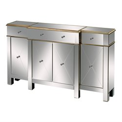Sterling Bordeaux Mirrored Buffet Table in Champagne Silver
