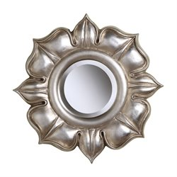 Sterling Lotus Decorative Mirror in Bright Silver Leaf