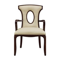 Sterling Blakemore Arm Chair in Dark Mahogany and Ecru