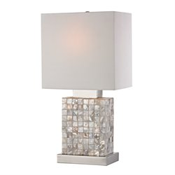 Sterling Canal Table Lamp in Mother of Pearl and Chrome